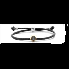 Tirisi Moda TIRISI Armband zwart leer met zilver en 18k geelgoud en markasiet TM2179BL(2T)