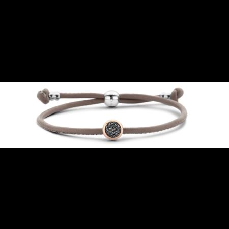 Tirisi Moda TIRISI Armband taupe leer met zilver en 18k rosegoud en markasiet TM2179LE(2P)