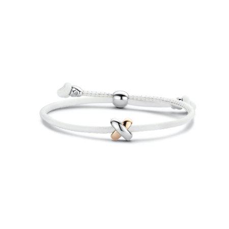 Tirisi Moda TIRISI Armband zwart leer met zilver en 18k roségoud en diamant TM2133BL-2P - Copy - Copy - Copy - Copy - Copy