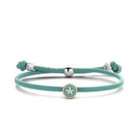 Tirisi Moda TIRISI Armband turquoise  leer met zilver en 18k geelgoud  TM2190AQ(2P)