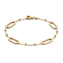Mrs.Janssen Mrs.Janssen Armband 14k geelgoud  met ovale schakels en bolletjes 19cm 606870