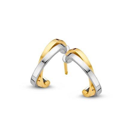 Mrs.Janssen Mrs.Janssen Oorstekers bicolor goud 14k briljant 0.14crt OP416035 - Copy - Copy