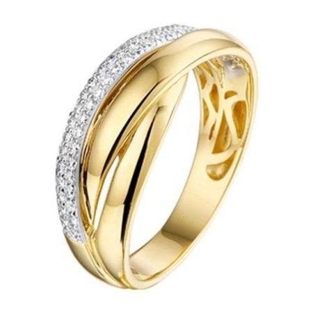 HuisCollectie HuisCollectie ring geel-witgoud 14k met diamant 0,21ct. 07464