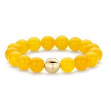Tirisi Moda TIRISI  MODA  Armband gele jade met 18kt geelgouden bol TM2060 YE