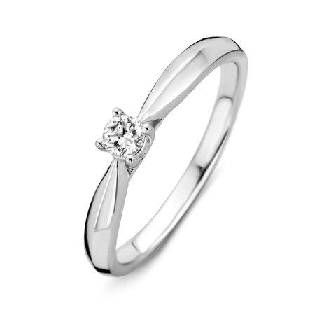 HuisCollectie HuisCollectie ring witgoud 14k met diamant 0,16ct. 214899