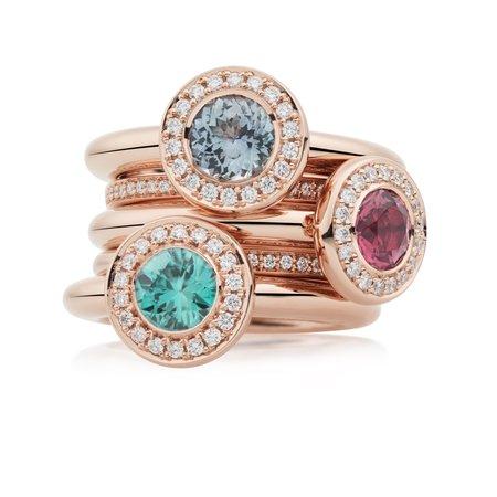 Bron BRON Ring Sushi 18krt Roségoud met blauwe zirkoon en 0.15ct diamant 8RR4873ZNBR