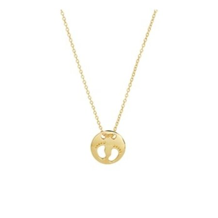 HuisCollectie  Beautiful 14 carat yellow gold necklace with round pendant with  little feet 44cm 606900