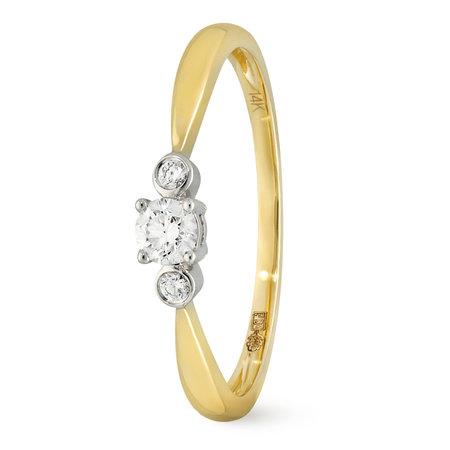 Mrs.Janssen MRS.Janssen Ring 14k geelgoud met diamant 0.16crt H/Si 606992