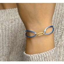 Mrs.Janssen Mrs.Janssen Armband blauw satijn met 14k geelgouden schakel 606901