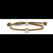 Tirisi Moda TIRISI Armband bruin leer met zilver en 18k geelgoud  TM2130NB(2T)
