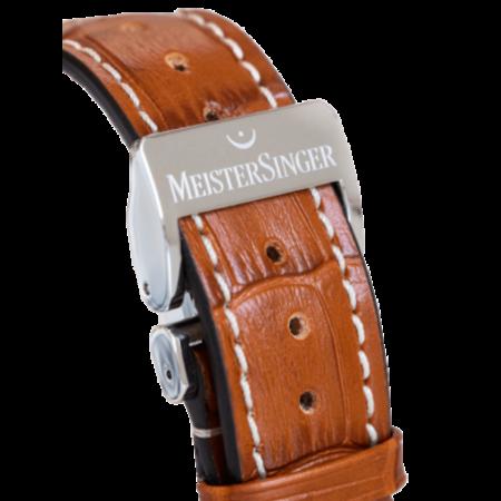 MeisterSinger MEISTERSINGER horlogeband 20MM Donker bruin met wit stiksel SG02W - Copy - Copy - Copy - Copy - Copy - Copy