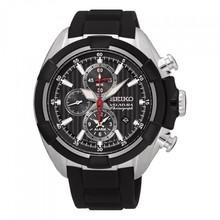 Seiko Seiko Velatura Chronograph Horloge met zwart rubber band SNAF39P1