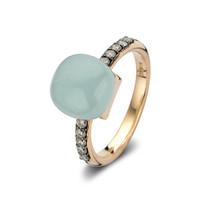 Bigli Bigli Ring Mini Sweety 18krt Roségoud met 10 bruine diamanten en aquamarijn met turkoois 20R93Raqlatubrdbr