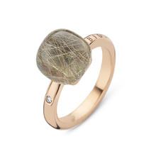 Bigli Bigli Ring Mini Sweety 18krt Roségoud met 1 witte diamant, rutielkwarts  met grijze parelmoer- 20R88Rrutmpgr