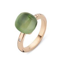 Bigli Bigli Ring Mini Sweety 18krt geelgoud met limoenkwarts met groene aventurijn en parelmoer-20R88Yleavvermp