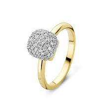 Bigli Bigli ring Mini Sweety 18krt geelgoud met witgoud  en 75 witte diamanten - 23R156YWdia