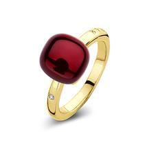 Bigli Bigli ring Mini Sweety 18krt geelgoud, 1 witte diamant en granaat met parelmoer- 20R88Ygranmp