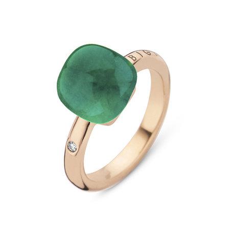 Bigli Bigli Ring Mini Sweety 18krt Roségoud met Emerald Green-20R88Rcrsmermp