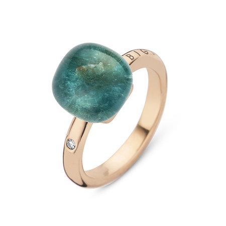 Bigli Bigli Ring Mini Sweety 18krt Roségoud met bergkristal met donkere apatiet- 20R88Rcrapatit