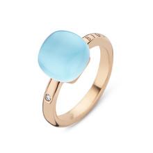 Bigli Bigli Ring Mini Sweety 18krt Roségoud met blauwe topaas met parelmoer en turkoois- 20R88Rbtmpturch