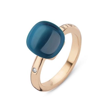 Bigli Bigli Ring Mini Sweety 18krt Roségoud met London Blue Lake-20R88Rlobmp