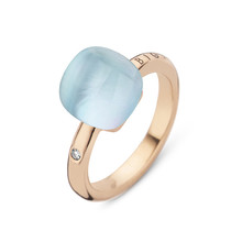Bigli Bigli Ring Mini Sweety 18krt Roségoud met bergkristal met parelmoer en turkoois 20R88Rcrmptu