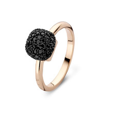Bigli Bigli ring Mini Sweety 18krt rosegoud met 75 zwarte diamanten met zwart rodium  23R156Rbldbr