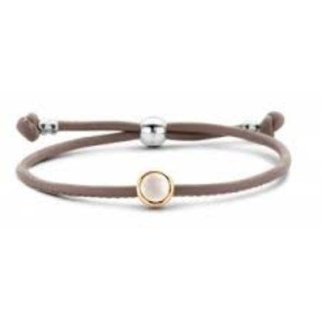 Tirisi Moda TIRISI Armband taupe leer met zilver en 18k geelgoud en parelmoer TM2181LE(2T)