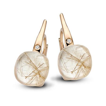 Bigli Bigli oorhangers Mini Sweety 18krt Roségoud met rutielkwarts met witte parelmoer en diamant 0,02ct 20O64Rrutmpbi