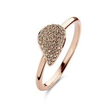 Bigli BIGLI Ring Mini Leaves 18k Roségoud met 0.22ct bruine diamant 23R189Rbrdia