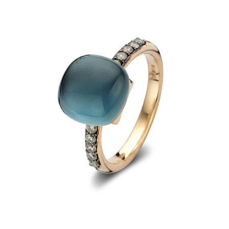 Bigli Bigli Ring Mini Sweety 18krt Roségoud met 10 bruine diamanten en London Blue Lake-20R93Rlobmpbrdr