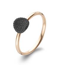 Bigli BIGLI Ring Mini Waves 18k Roségoud met 0.20ct zwarte diamant en zwarte roduim-23R183Rbldr