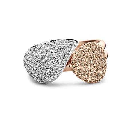 Bigli BIGLI Ring Mini Waves 18k Roségoud met 0.27ct bruine diamant-23R184Rbrdia