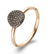 Bigli BIGLI Ring Mini Waves 18k Roségoud met 0.27ct bruine diamant en zwarte roduim-23R184Rbrdbr