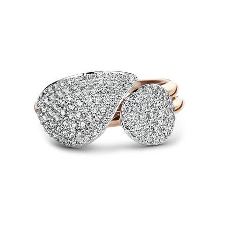 Bigli BIGLI Ring Mini Waves 18k Roségoud met 0.27ct bruine diamant en zwarte rhodium-23R184Rbrdbr