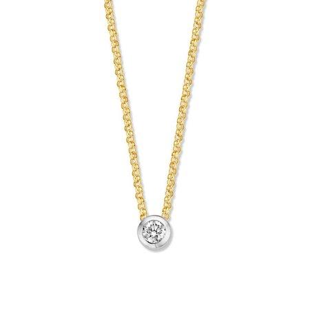 Mrs.Janssen MRS.Janssen Collier geelgoud 14k met diamant 0.10ct HSI 607387