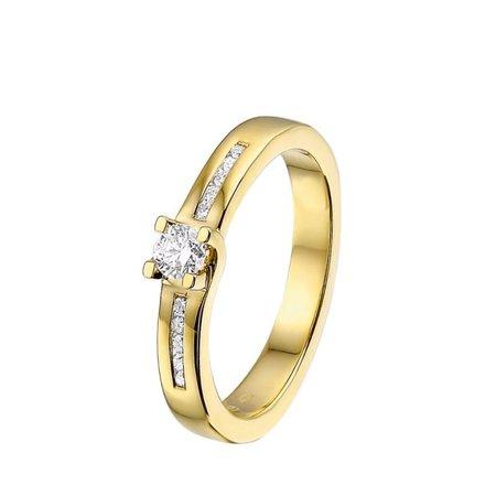 HuisCollectie HuisCollectie Ring 14k Geelgoud met 0.25ct H Si diamant 21758