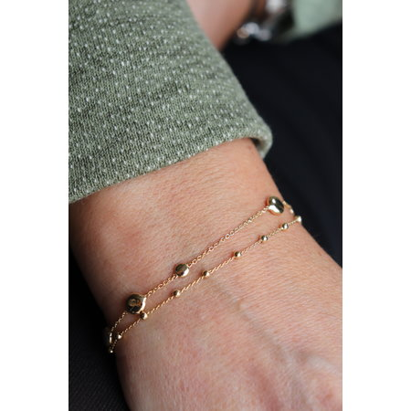Mrs.Janssen Mrs.Janssen Armband 14k geelgoud Bolletjes 19cm 606225