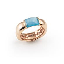 AL CORO AL CORO La Piazza Ring 18k Roségoud met blauw topaas NR581TR