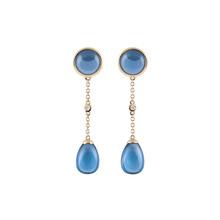 AL CORO AL CORO Candy Oorhangers 18k Geelgoud met blauwe quartz en diamant E228BGO