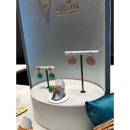 Bron BRON Oorhangers Catch 18k Roségoud met aventurijn en champagne diamant 8OR4804CBRAV