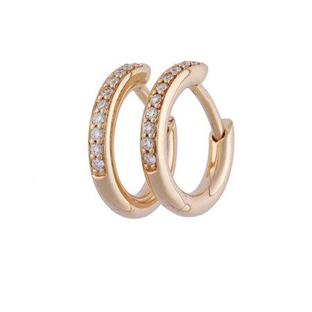 Bron BRON Creolen 13mm 18k Roségoud met champagne diamant 7OR477913CBR