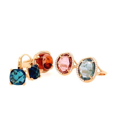 Mrs.Janssen Mrs.Janssen Ring 18k Roségoud met blauwe toermalijn en diamant 607570