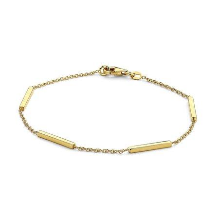 Mrs.Janssen Mrs.Janssen Armband 14k geelgoud met vierkante staafjes 607615