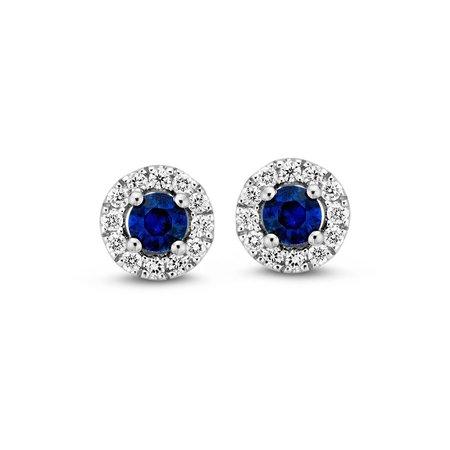HuisCollectie Huiscollectie Blauw Saffier Oorstekers met  Diamant  0.14H/SI 14k witgoud 607623