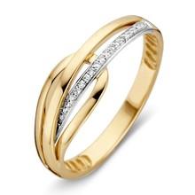 HuisCollectie HuisCollectie ring Geel-Witgoud 14k met Diamant 0.05crt  607626
