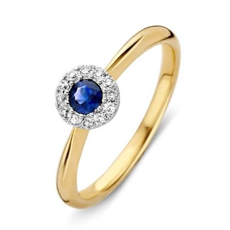 HuisCollectie HuisCollectie Ring 14k Geelgoud met 0.09ct Diamant en Blauwe Saffier 607630