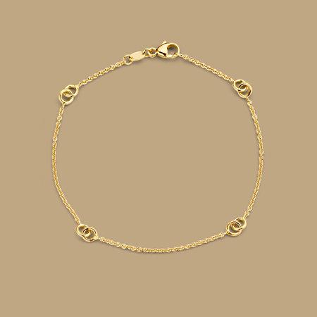 Mrs.Janssen Mrs.Janssen Armband 14k geelgoud met verbonden cirkels 6077