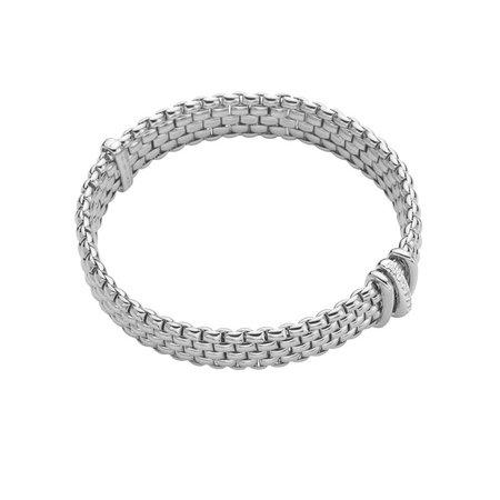 Fope FOPE Flex-it Panorama armband 18k witgoud met 0.08ct briljant- 587B BBR W M