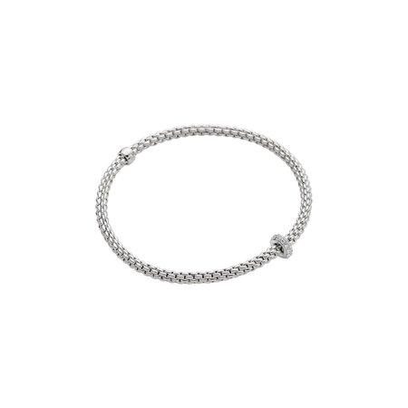Fope FOPE Flex-it Prima  armband 18k witgoud met 0.18ct pavé briljant- 745 B BBR M W